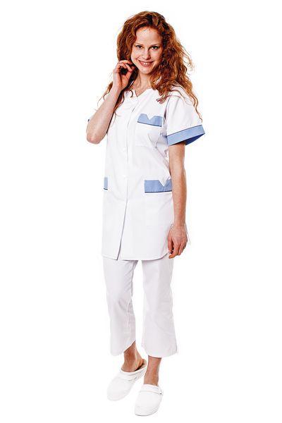 Tunique médicale femme blanche parement bleu ciel Tivry