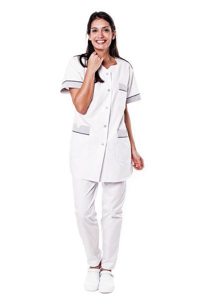 Tunique médicale femme blanche parement gris Tivry