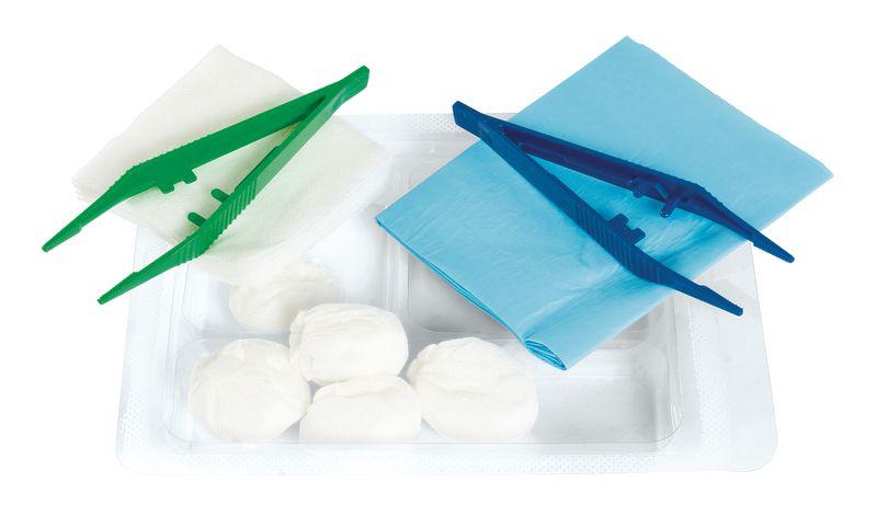 Set de pansement avec champ, tampons et compresses