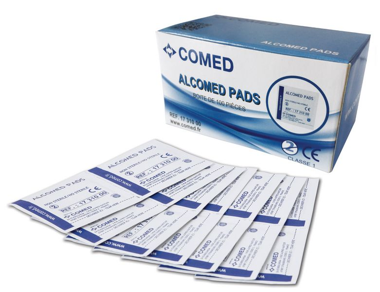 Tampons d'alcool 70% Alcomed Pads