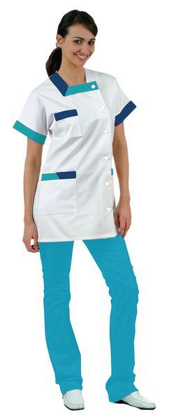 Tunique médicale femme avec parement bicolore Lou