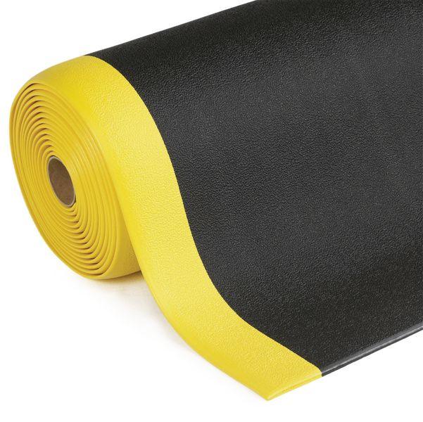 Tapis anti-fatigue en rouleau - noir bord jaune