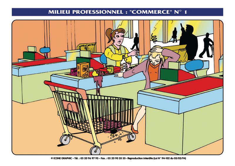 Transparents situations d'accident dans le commerce