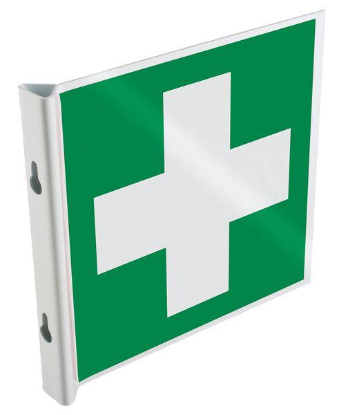 """Panneau drapeau 2D NF EN ISO 7010 """"Premiers secours"""""""