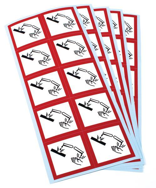 Etiquettes CLP en planche Matières corrosives GHS05