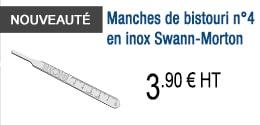 NOUVEAUTE - Manches de bistouri n°4 en inox Swann-Morton