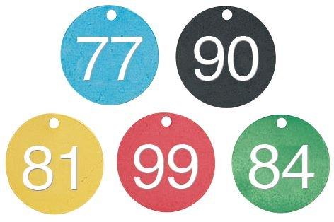 Marqueurs de vannes prénumerotés 76 à 100 alu coloré