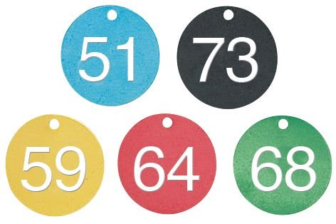 Marqueurs de vannes prénumerotés 51 à 75 alu coloré