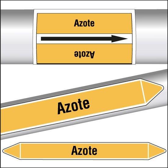 Marqueurs de tuyauterie CLP texte Azote