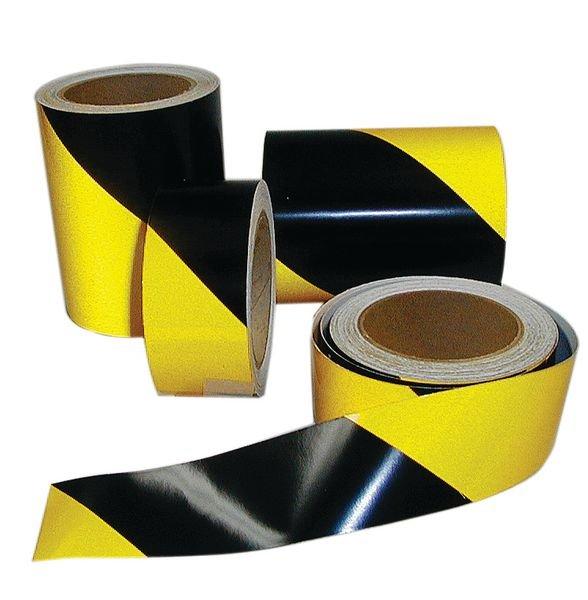 Bandes adhésives noir/jaune rétroréfléchissantes