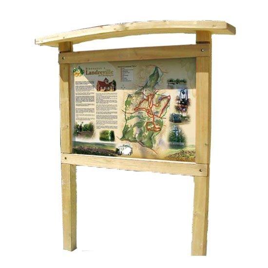 Planimètre bois avec toiture galbée et panneau