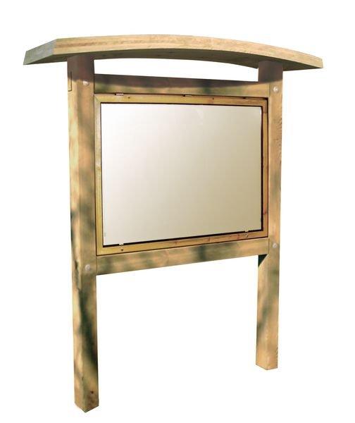 Planimètre bois avec vitrine recto verso toiture galbée