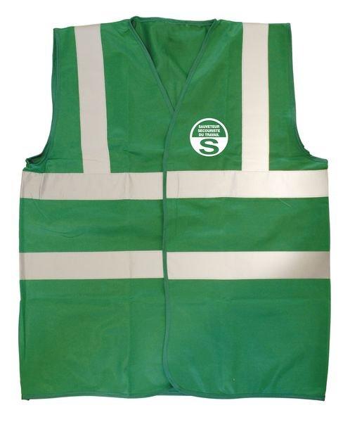 """Gilet haute visibilité vert marquage """"S.S.T."""""""