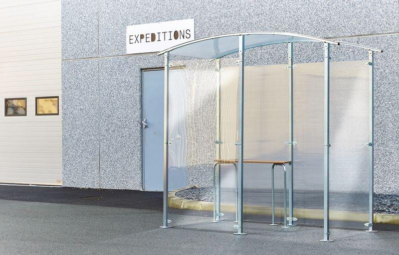 Abri fumeurs demi-fermé 2,2 m² + assis debout