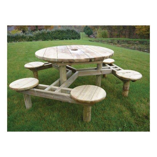 Table ronde en pin avec banc 6 places