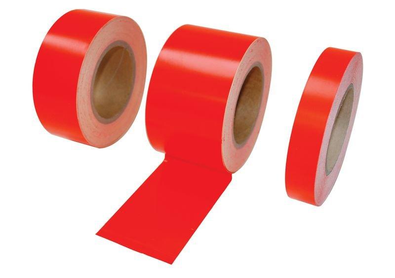 Rouleau adhésif rouge fluorescent 25 m de long