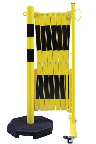 Barrière extensible avec poteau mobile lesté