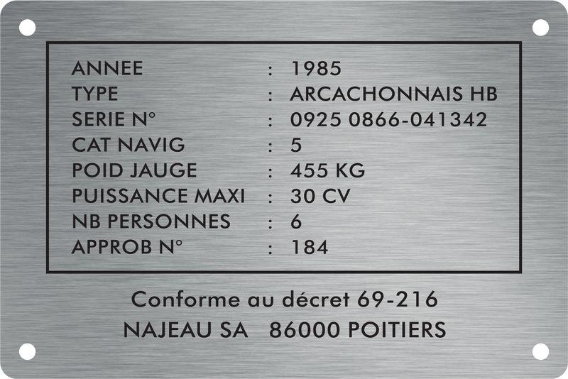 Plaque de machine Inox gravée personnalisée