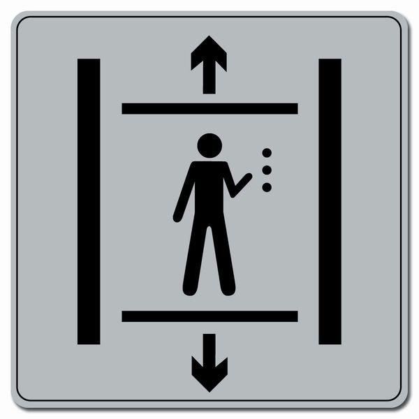Symbole Plexi fond gris Ascenceur