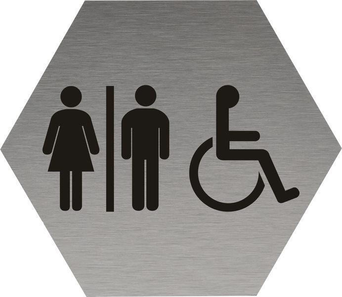 Signalétique alu brossé Toilettes homme/femme/handicapé