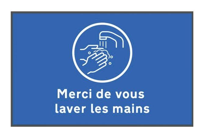 Tapis de distanciation sociale lavez les mains