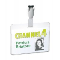 Porte badge PVC transparent avec clip