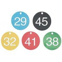 Marqueurs de vannes prénumerotés 26 à 50 alu coloré