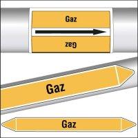 Marqueurs de tuyauterie CLP texte Gaz