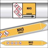 Marqueurs de tuyauterie CLP texte NH3
