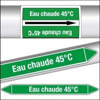 Marqueurs de tuyauterie CLP Eau chaude 45°C