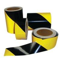 Bandes adhésives au sol noir/jaune rétroréfléchissantes