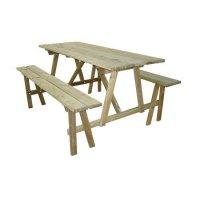 Table rectangulaire en pin avec banc 6/8 places