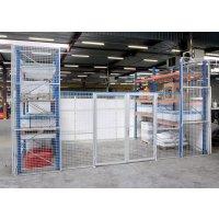 Porte grillagée pour espace entre racks à palette
