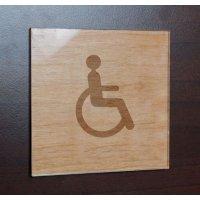 Plaque bois gravée + Plexi 100 x 100 pictogrammes