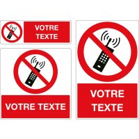 Panneau Téléphones portables interdits personnalisé