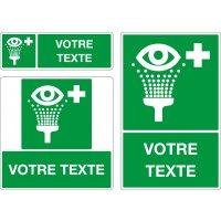 Panneau pictogramme Lave-oeil et texte personnalisé