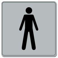 Plaque de porte en plexi fond gris Toilettes Homme