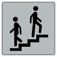 Plaque de porte en plexi fond gris Escalier