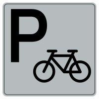 Symbole Plexi fond gris Parking vélo