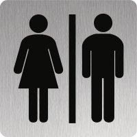 Signalétique alu anodisé brossé Toilettes hommes/femmes