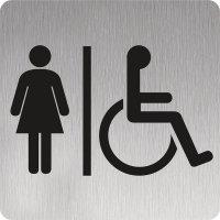 Signalétique Alu brossé Toilettes femmes handicapées