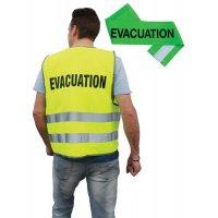 Gilet évacuation jaune + brassard évacuation vert