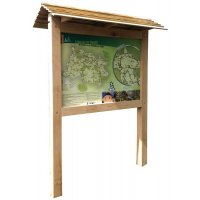 Planimètre bois avec toiture et panneau