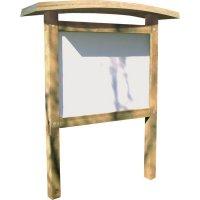 Planimètre bois avec toiture galbée et panneau PVC