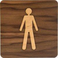 Plaque de porte en bois bi-matière Homme