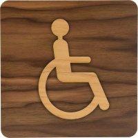 Plaque de porte en bois bi-matière Handicapés