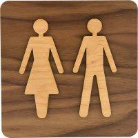 Plaque de porte en bois bi-matière Homme/Femme