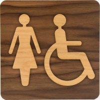 Plaque de porte en bois bi-matière Femme handicapé