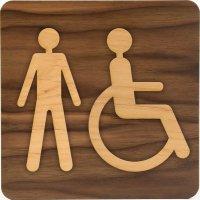 Plaque de porte en bois bi-matière Homme handicapé