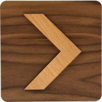 Plaque de porte en bois bi-matière Flèche